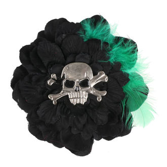 Koponya mintájú Haj Csipesz - Fekete / Zöld, NNM