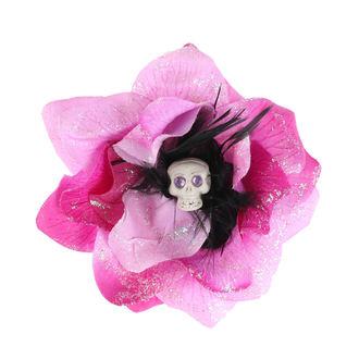 Koponya mintájú Haj Csipesz - Rózsaszín / Fekete
