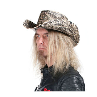 WORNSTAR Kalap - Hellrider HS Black & Natural Rocker Cowboy, WORNSTAR