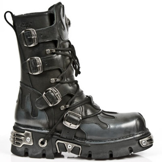 bőr csizma - Flame Boots (591-S2) Black-Grey - NEW ROCK - M.591-S2