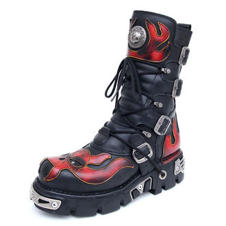 bőr csizma - Vampire Boots (107-S1) Black-Orange - NEW ROCK, NEW ROCK