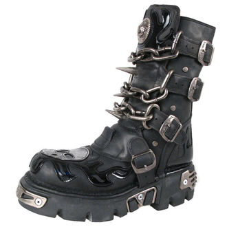 bőr csizma - Chain Boots (727-S1) Black - NEW ROCK, NEW ROCK