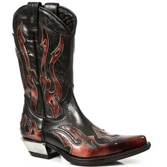 bőr csizma - Flame Biker (7921-S2) Black-Orange - NEW ROCK, NEW ROCK