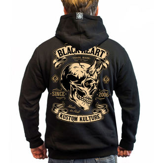 kapucnis pulóver férfi - DEVIL SKULL - BLACK HEART, BLACK HEART