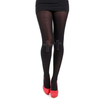 harisnyanadrág PAMELA MANN - 80 Denier Tights With Cross On Knee-Black, PAMELA MANN