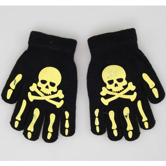 kesztyű Skull - Black/Yellow