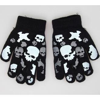 kesztyű Skull - Black/White