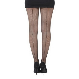harisnyanadrág PAMELA MANN - Fishnet Seamed Tights Black With Diamante Seam - Black, PAMELA MANN
