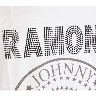 RAMONES férfi póló- LOGO SILVER DIAMANTE - WHITE - AMPLIFIED, AMPLIFIED, Ramones