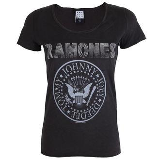 metál póló női Ramones - LOGO SILVER DIAMANTE - AMPLIFIED, AMPLIFIED, Ramones