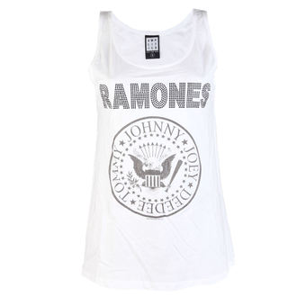 RAMONES női felső - LOGO DIAMANTE - FEHÉR - AMPLIFIED, AMPLIFIED, Ramones