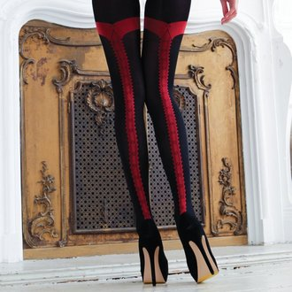 LEGWEAR harisnya- charley opaque - black with red seam, LEGWEAR