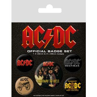 AC/DC (logo) kitűzők, PYRAMID POSTERS, AC-DC