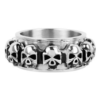 INOX gyűrű - skulls around, INOX