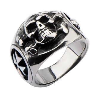 INOX gyűrű - SKULL BACK CROSS BONE, INOX