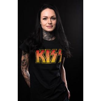 metál póló női Kiss - Distressed Logotype - HYBRIS, HYBRIS, Kiss