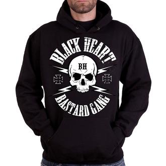 kapucnis pulóver férfi - BASTARD SKULL - BLACK HEART - 003-0036-BLK