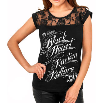utcai póló női - KUSTOM KULTURE - BLACK HEART, BLACK HEART