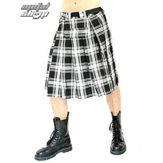 skót szoknya Black Pistol - Short Kilt Tartán Black-White, BLACK PISTOL