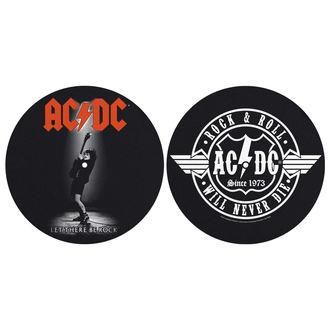 AC  /  DC  Bakelit Lemez alakú alátét(2 darab) - LET THERE BE ROCK! ROCK AND ROLL - RAZAMATAZ, RAZAMATAZ, AC-DC