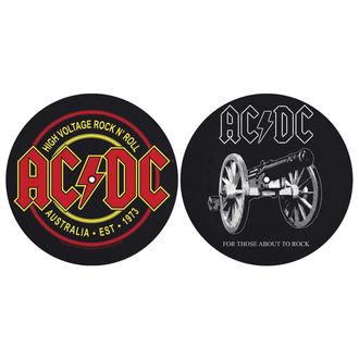 AC  /  DC Bakelit Lemez alakú alátét(2 darab) - FOR THOSE MOUT TO ROCK - MAGAS FESZÜLTSÉG - RAZAMATAZ, RAZAMATAZ, AC-DC
