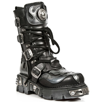 bőr csizma - Vampire Boots (107-S2) Black-Grey - NEW ROCK, NEW ROCK