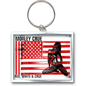 kulcstartó - kulcstartó Mötley Crüe (Red, White & Crue Logo) - ROCK OFF, ROCK OFF, Mötley Crüe