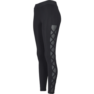 URBAN CLASSICS Női leggings nadrág - Ribbon Mesh - fekete, URBAN CLASSICS