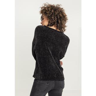 URBAN CLASSICS Női pulóver - Chenille - fekete, URBAN CLASSICS