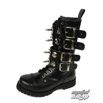 bőr csizma női - Scare 4-buckles - BOOTS & BRACES - ČERNÉ, BOOTS & BRACES