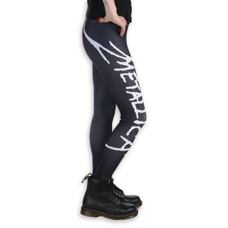 Női leggings nadrág (bokavédő) - Metallica - logo - Fekete / fehér, PAMELA MANN