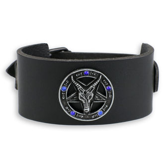 Baphomet Karkötő - black - kristály- kék, JM LEATHER