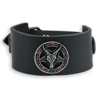 Baphomet Karkötő - black - kristály- piros, JM LEATHER