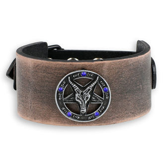 Baphomet Karkötő - brown - kristály- kék, JM LEATHER