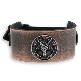 Baphomet Karkötő - brown - kristály- piros, JM LEATHER