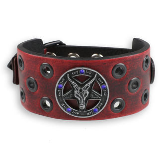 Baphomet Karkötő - red - kristály- kék, JM LEATHER