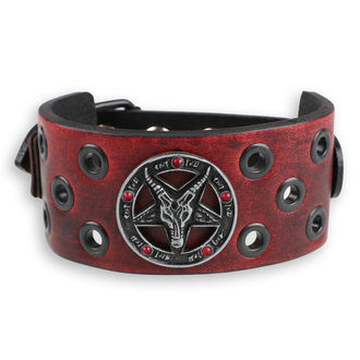 Baphomet Karkötő - red - kristály- red, JM LEATHER
