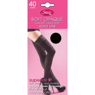 LEGWEAR harisnyanadrág - 40 denier opaque lace top hold ups - fekete, LEGWEAR