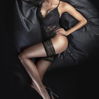 LEGWEAR Harisnya - Ultra gloss lace top hold ups - Alig fekete, LEGWEAR